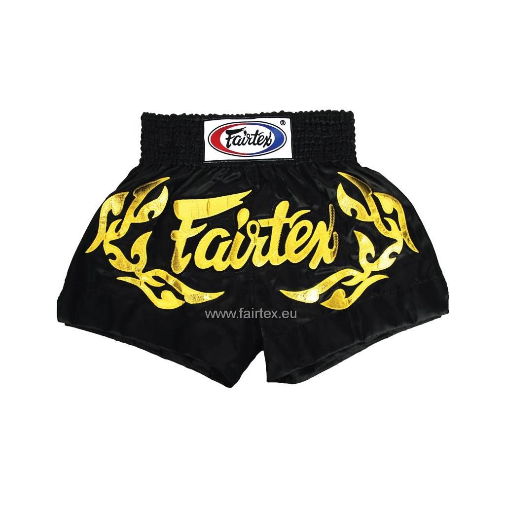 "Fairtex BS0646 ""Eternal Gold"" Satijnen Muay Thai Broekje - Zwart"