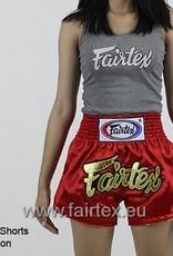 """Fairtex BS202 """"Women Cut"""" Satin Woven Muay Thai Shorts - Red"""