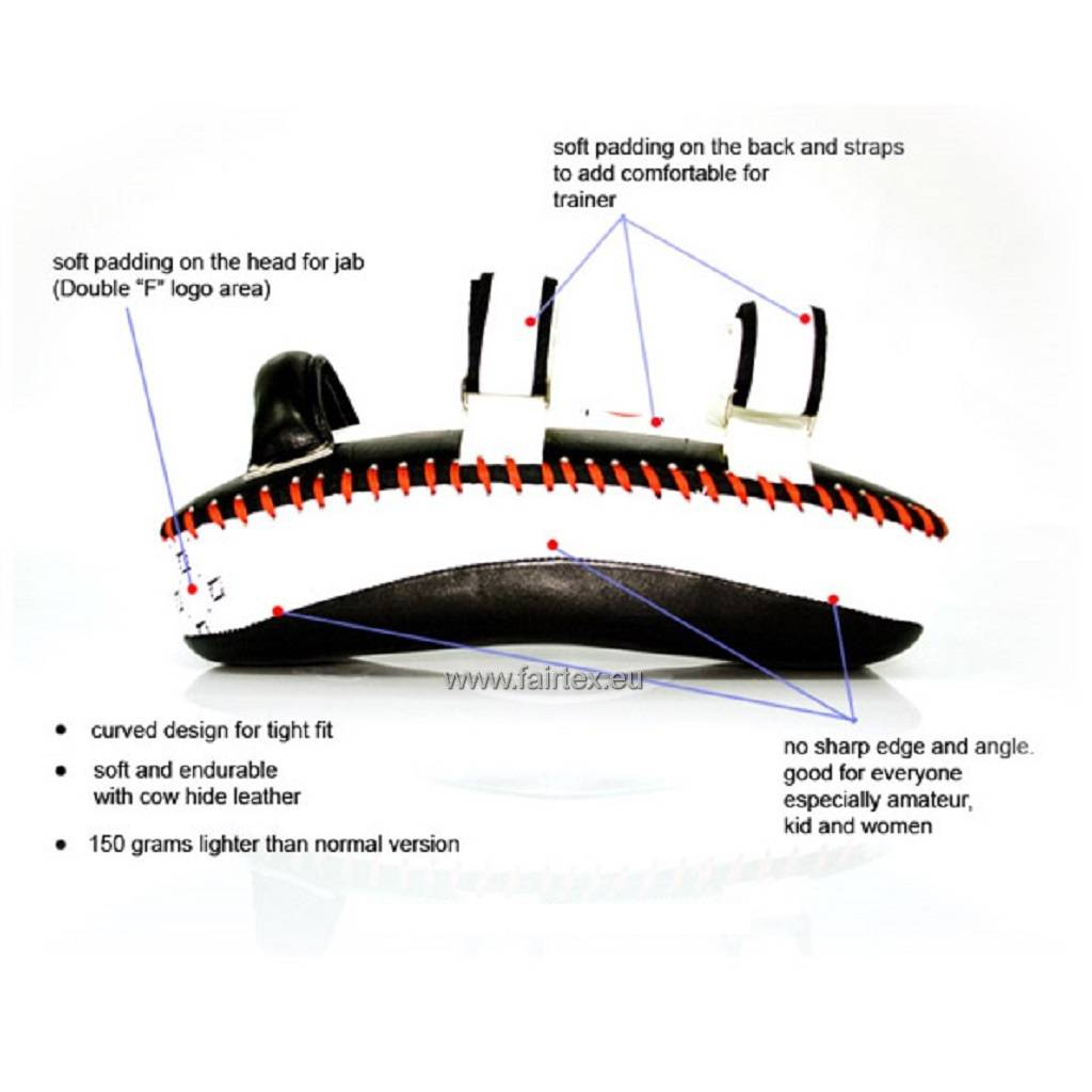 Fairtex KPLC2 Curved Kick Pads - White/Black