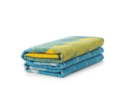 Normann Copenhagen Ekko - throw blanket - yellow/dusty blue