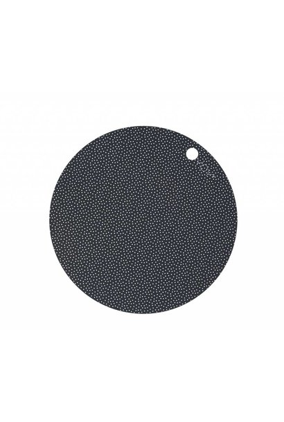 Placemats - round - dark grey dot - 2 pcs