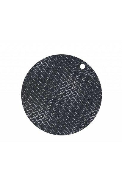 Placemats - round - dark grey dot print - 2 pcs