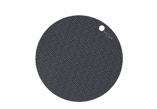 OYOY Placemats - round - dark grey dot - 2 pcs