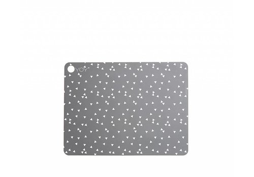 OYOY Placemats - light grey with white triangles - 2 pcs