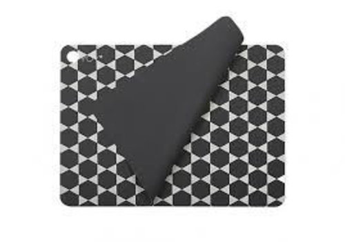OYOY Placemats - dark grey with print - 2 pcs