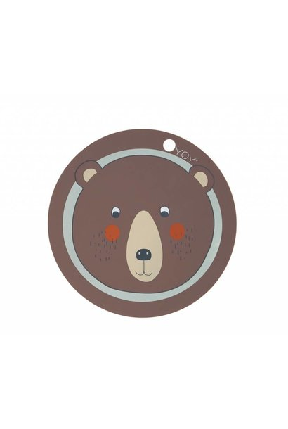 Placemat - kids - bear - round - brown