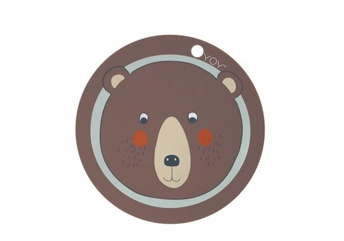 OYOY Placemat - kids - bear - round - brown