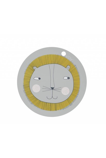 Placemat - kids - lion - round - grey