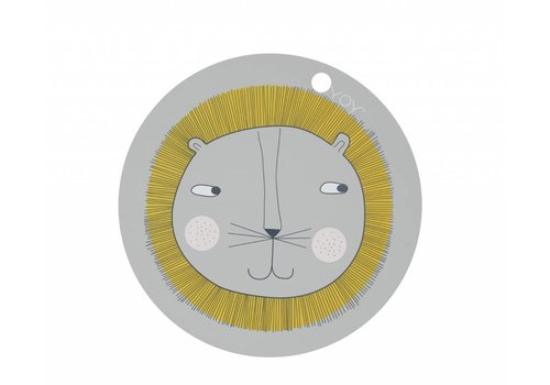 OYOY Placemat - kids - lion - round - grey