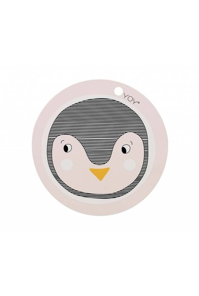 Placemat - kids - penguin - round - rose