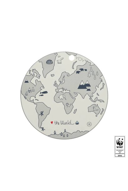 Placemat - kids - the world - round - off white
