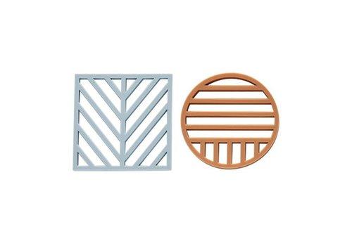OYOY Gotoku Trivet - Medium - Pale Blue / Caramel - Set 2 pcs