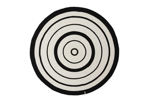 OYOY Rug - Circle - off white / black - dia 120cm