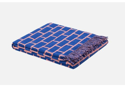 Hem - Scribble Brick Throw - Blue/Pink - 130x180