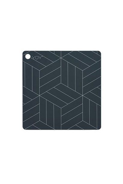 Placemats - square - mado - dark grey with white lines - 2 pcs