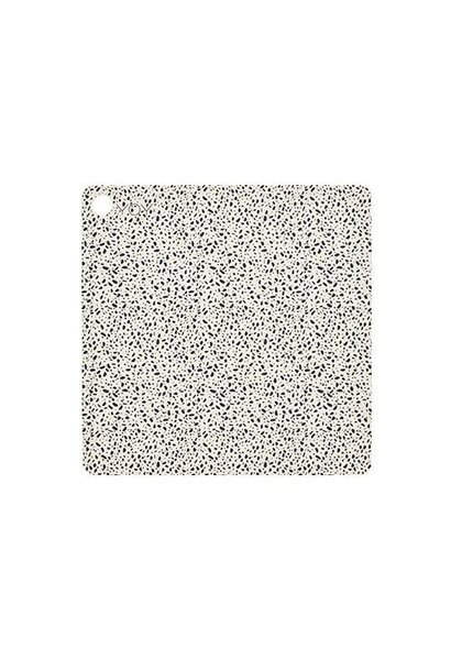 Placemats - square - terrazzo - white with black dots - 2 pcs