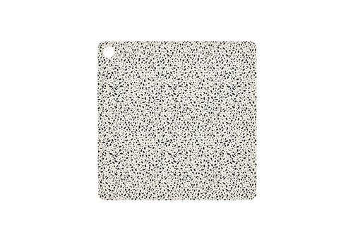 OYOY Placemats - square - terrazzo - white with black dots - 2 pcs