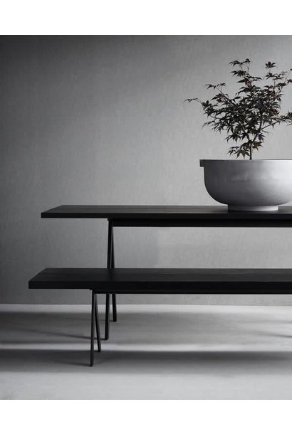 Saw Dining table 300x100 - Black frame - Black solid ash top