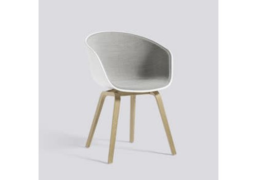 HAY AAC22 Chair oak matt lacquer - white shell front upholstry - remix 2/123 - felt glider