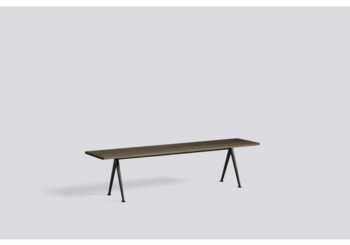 HAY Pyramid Bench 12 - base Beige steel - top smoked solid oak