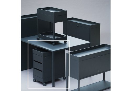 HAY New order - trolley B - 3 drawer and tray top - Charcoal powder coated