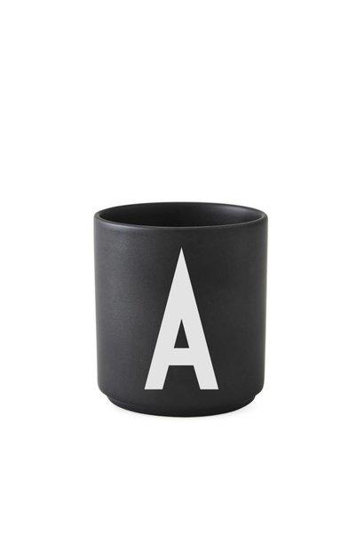 Personal porcelain cup black (A-Z)