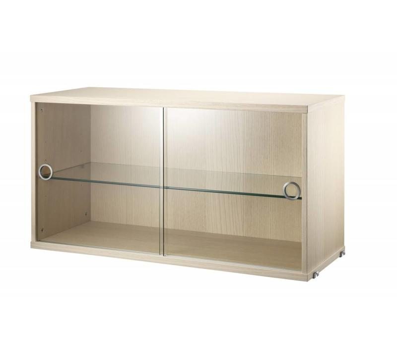 String Display Cabinet With Sliding Doors Glass Walnut