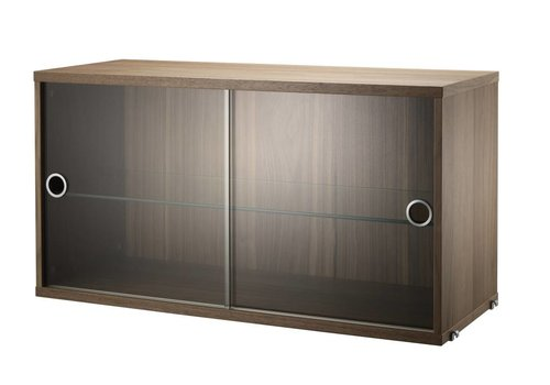 String Display cabinet with sliding doors Glass - Walnut