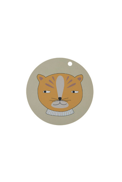 Placemat - kids - leopard - round - clay