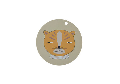OYOY Placemat - kids - leopard - round - clay