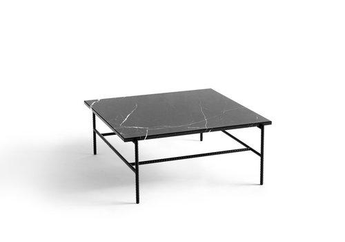 HAY Rebar coffee table soft black powder coated steel marble - 80x84x33cm