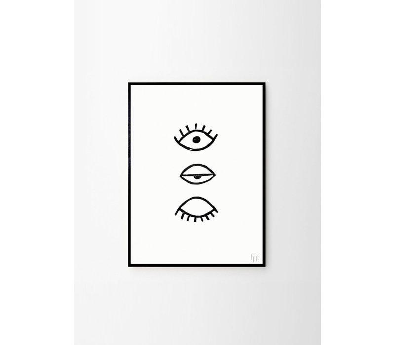 Eye eye - Fine Little Day - 50x70cm - frame black solid oak