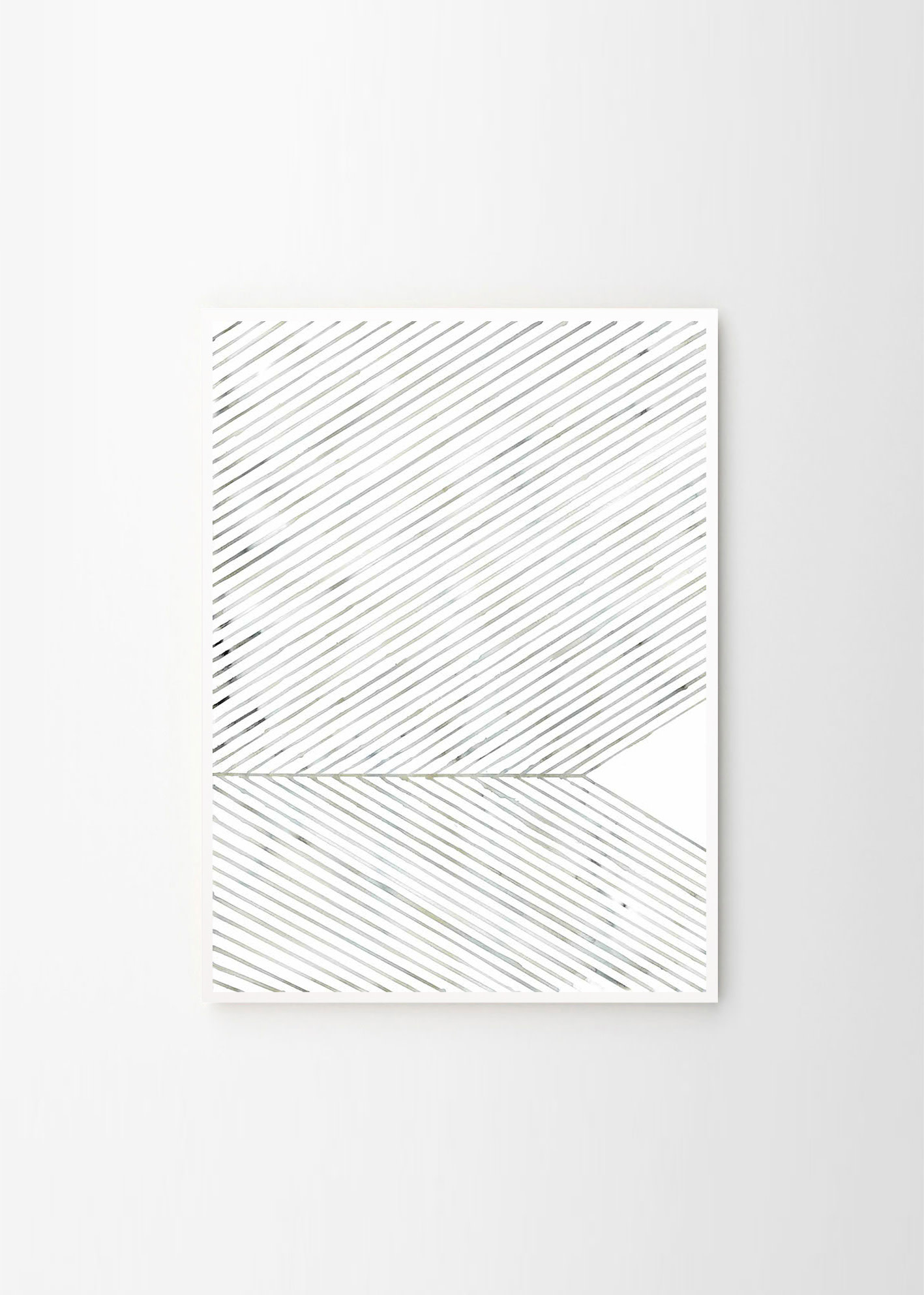 Leaf lines Green - Silke Bonde - 50x70cm - frame white solid oak-1