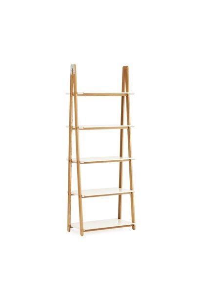 One step up bookcase high  white