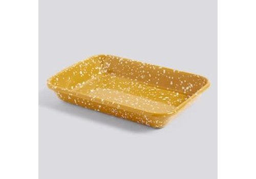 Enamel Tray rectangular Speckle mustard