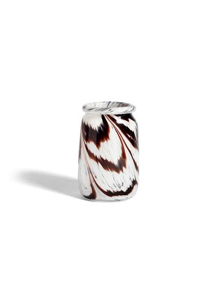 Splash vase - round L coffee and white