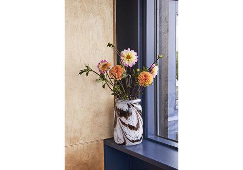 HAY Splash vase - round L coffee and white