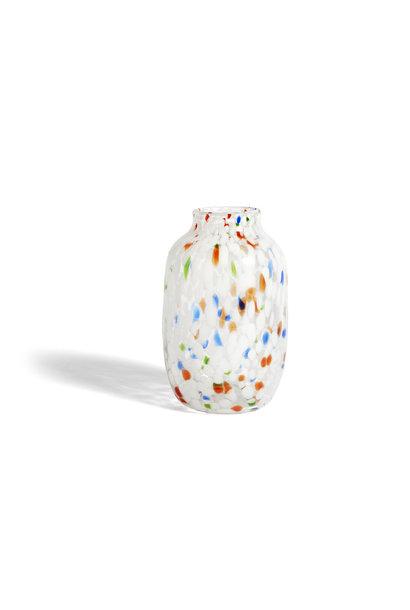 Splash vase - round L white dot