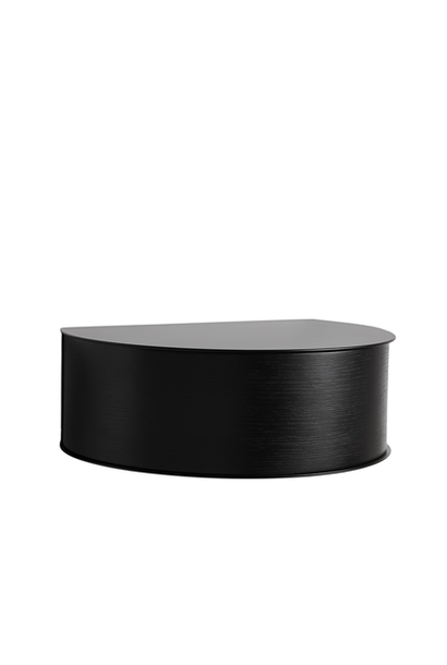 Wallie - black metal shelf with black drawer