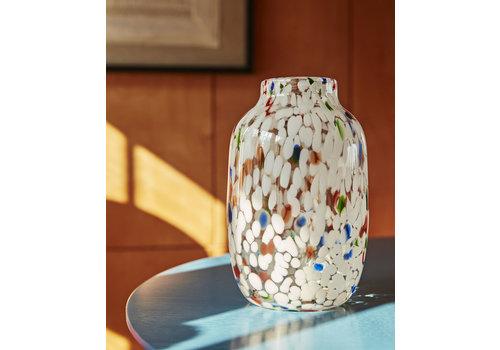 HAY Splash vase - round L white dot