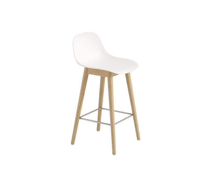 Fiber Counter Stool wood base with backrest - 65 cm