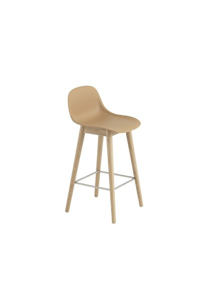 Fiber Counter Stool - Wood Base with backrest