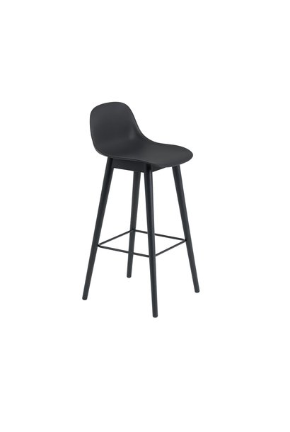 Fiber Bar Stool wood base with backrest - 75 cm