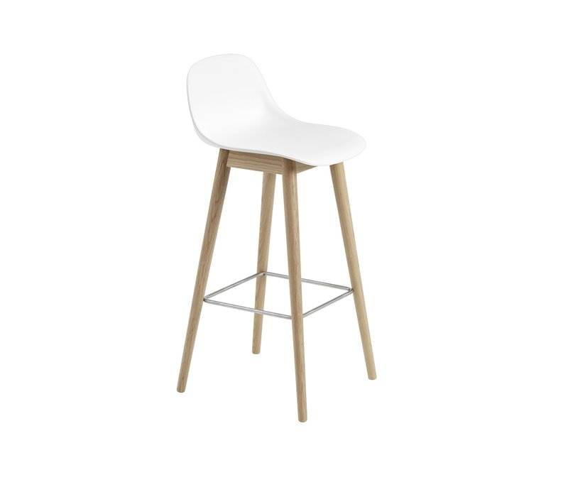 Fiber Bar Stool wood base with backrest - 75 cm