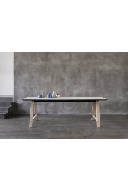 T1 Table - B180xD95cm - Base Soaped Oak - White Laminate - Extension for 3 leaves