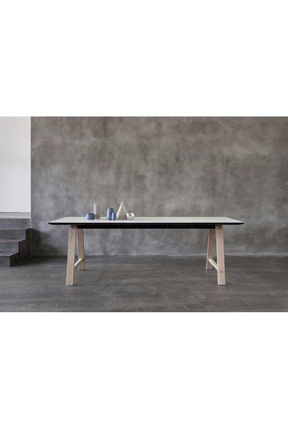T1 table extendable - B180xD95cm - base soaped oak + top white laminate + edge black