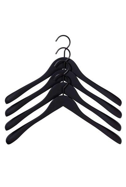 Soft coat hanger - wide - 4 pcs - black