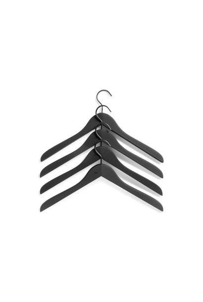 Soft coat hanger - slim - 4 pcs - black