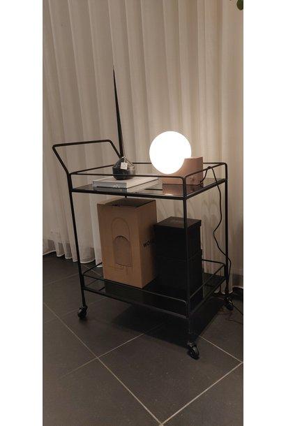 Dixon Bar cart - 2 charcoal mirror shelves - Rectangle