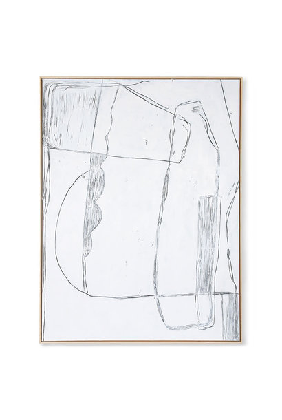 Framed brutalism painting white